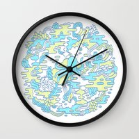 katamari Wall Clocks featuring Ocean Zone by Chase Kunz