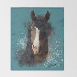Black Brown Horse Artwork Throw Blanket