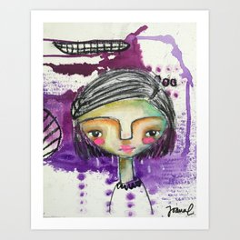 Girl in Purple Art Print