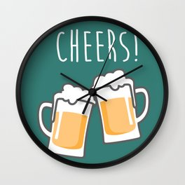 Cheers for peers with beer - Enjoy beer day with your friends Wall Clock