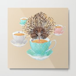 Echidna Drinking Tea Metal Print