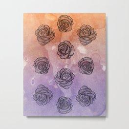 Purple & Orange Roses Metal Print