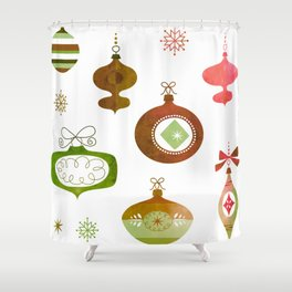 Red and Green Vintage Oraments Shower Curtain