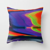 glitch Throw Pillows featuring Glitch by Simon Langlois