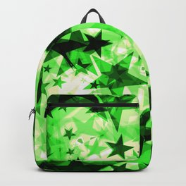 Metallic green glowing dark golden stars on a light background in the projection. Backpack
