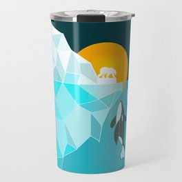 Arctic polar bear whale and nature conservation illustration Travel Mug