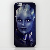 mass effect iPhone & iPod Skins featuring Mass Effect: Liara T'soni by Ruthie Hammerschlag
