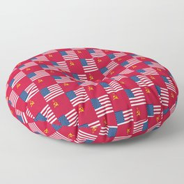 Mix of flag :  Usa and USSR Floor Pillow