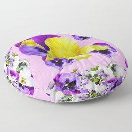 PINK COLOR PURPLE & WHITE PANSIES YELLOW IRIS Floor Pillow