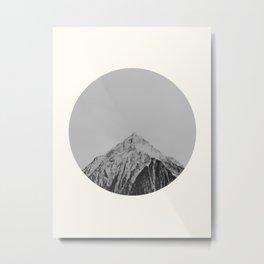 Mid Century Modern Round Circle Photo Grey Minimalist Monochrome Snow Mountain Peak Metal Print