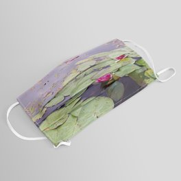 Lily pond with pink water lilies Face Mask