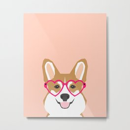 Corgi Love - Valentines heart shaped glasses on funny dog for dog lovers pet gifts customizable dog  Metal Print