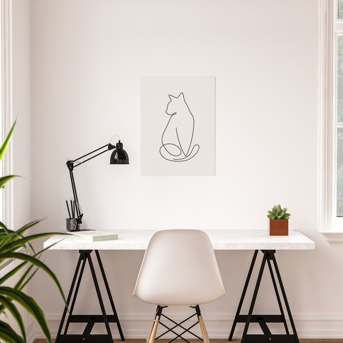 One Line Kitty Poster