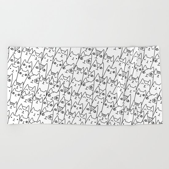 Doodle Cats family Beach Towel