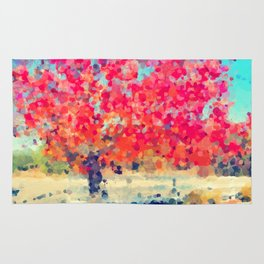 Orange Tree Watercolor  Rug