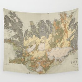 Vintage Geological Map of Iceland (1901) Wall Tapestry