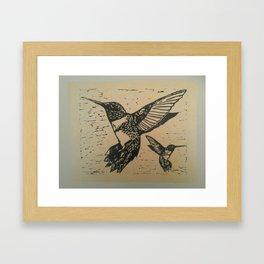 Humming birds lino print Framed Art Print