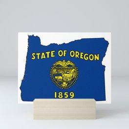 Oregon Map with State Flag Mini Art Print