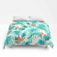 Tropical Paradise Pale Yellow Comforters