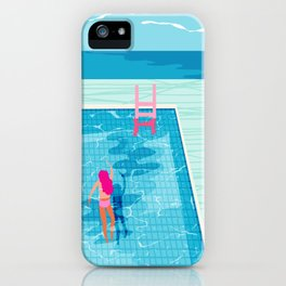 In Deep - memphis throwback swimming athlete palm springs resort vacation country club infinity pool iPhone Case