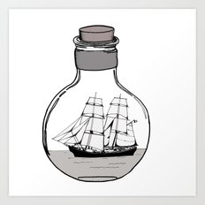 The ship in the bulb Art Print