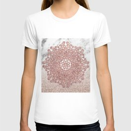Rose gold mandala marble glitter ombre T-shirt