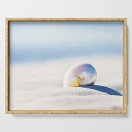 Pearl Nautilus Seashell Photography, Shell on Beach, Blue Coastal Photograph Serving Tray