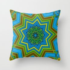 Lovely Healing Mandalas in Brilliant Colors: Blue, Yellow, Gold, and Green Throw Pillow