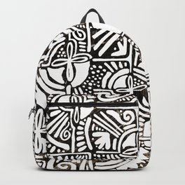 Geometrical black gold marble hand painted floral tribal Backpack