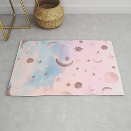 Pastel Starry Sky Moon Dream #2 #decor #art #society6 Rug