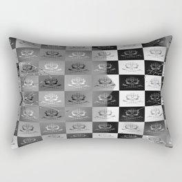 Branching Into Darkness: Bitter Techno Skulls-Checkers Rectangular Pillow