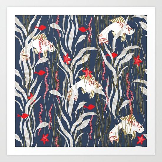 Seaweed Swim Art Print