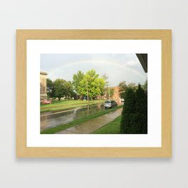 Rainbow on a cloudy day Framed Art Print