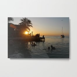 Caye Caulker Sunsets Metal Print