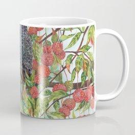Starlings dogwood berries leaves branches Coffee Mug