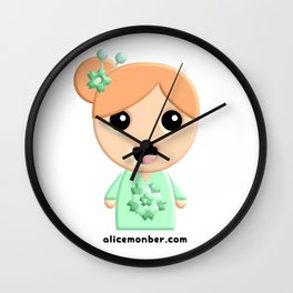 Juliette Kokeshi Red Head Doll Wall Clock
