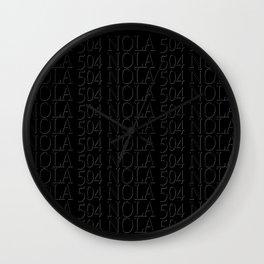 NOLA 504 black on black Wall Clock
