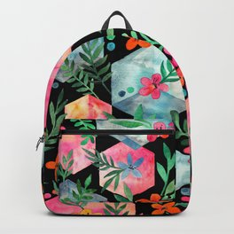 Whimsical Hexagon Garden on black Backpack