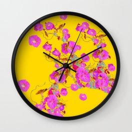 Pink Morning Glories on Gold Art Design Wall Clock
