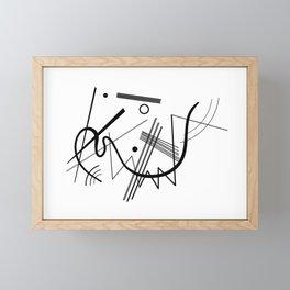 Kandinsky - Black and White Abstract Art Framed Mini Art Print