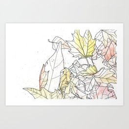 Autumn Leaves Watercolor Art Print