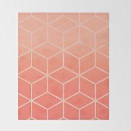Living Coral Gradient - Geometric Cube Design Throw Blanket