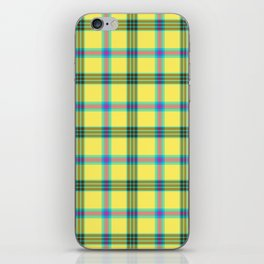 lemon love plaid with a dash of pink and blue iPhone Skin