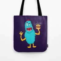 hamburger Tote Bags featuring Hamburger! by Chelsea Herrick