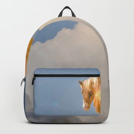 Walking on clouds over the blue sky Backpack
