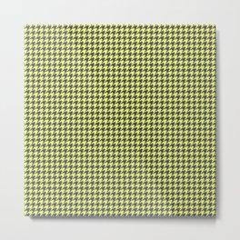 Yellow Grey Houndstooth Pattern Metal Print