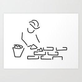 bricklayer construction worker building Art Print