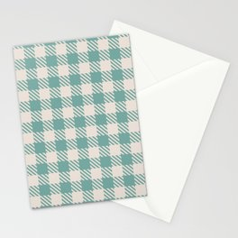 Plaid Pattern 513 Green and Beige Stationery Cards