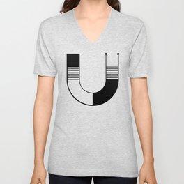 letter U - initial and monogram  Unisex V-Neck