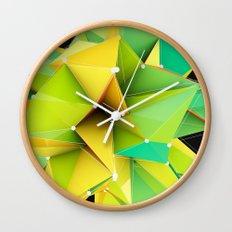 Polygons green Abstract Wall Clock
